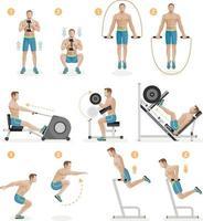 ginásio exercícios máquinas equipamentos desportivos. ilustração vetorial. vetor