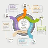 Modelo de infográficos de círculo de seta de 5 etapas. ilustração vetorial. pode ser usado para layout de fluxo de trabalho, diagrama, opções de número, web design e linha do tempo. vetor