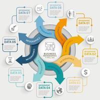 Modelo de infográficos de círculo de seta de 8 etapas. ilustração vetorial. pode ser usado para layout de fluxo de trabalho, diagrama, opções de número, web design e linha do tempo. vetor