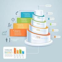 modelo de diagrama de escada de negócios. ilustração vetorial. pode ser usado para layout de fluxo de trabalho, banner, opções de número, opções de intensificação, design web, infográficos, modelo de cronograma vetor