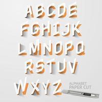 desenhos de corte de papel alfabético em letras maiúsculas vetor