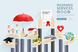 serviços de seguros de mãos. ilustrações vetoriais. vetor