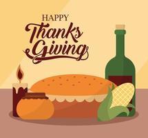 feliz dia de ação de graças com bolo de vinho, milho, mel e desenho vetorial de vela vetor