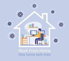 trabalho de proteção em casa do conceito de vírus. ilustrações vetoriais.