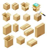conjunto de ilustração isométrica do vetor do pacote.