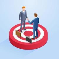dois empresários apertam as mãos do alvo. ilustrações isométricas do vetor. vetor
