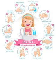 menina mostra o processo de lavar as mãos ilustração vetorial vetor