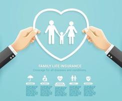 projeto conceitual de serviços de apólice de seguro. mão segurando a forma de coração para proteger o estilo de corte de papel da família. ilustrações vetoriais. vetor