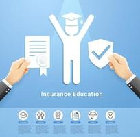 projeto conceitual de serviços de apólice de seguro educacional. estilo de corte de papel de ilustrações vetoriais. vetor