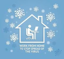 trabalhe em casa para impedir a propagação das ilustrações vetoriais de estilo de corte de papel de vírus. vetor