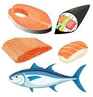 ilustração em vetor filé de salmão.