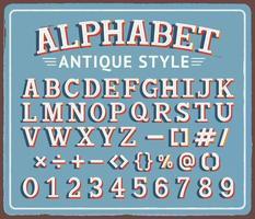 vintage retrô lata sinal com ilustrações criativas do alfabeto de tipografia. vetor