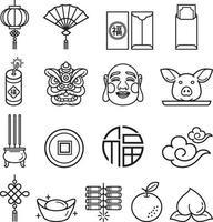 conjunto de ícones do ano novo chinês. ilustrações do vetor. vetor