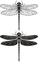 conjunto de ícones de silhueta de libélula. ilustrações vetoriais. vetor