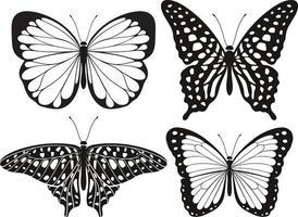 conjunto de ícones de silhueta de borboleta. ilustrações vetoriais. vetor