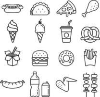 ícones de fast food. ilustrações vetoriais. vetor