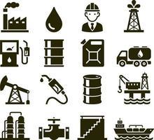 ícones da indústria de petróleo. ilustrações vetoriais.