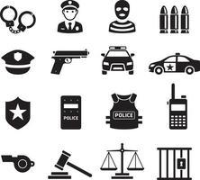 ícones da polícia. ilustrações vetoriais. vetor