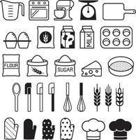 conjunto de ícones de ferramentas de padaria. ilustração vetorial. vetor