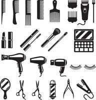 conjunto de ferramentas de salão de beleza. ilustrações vetoriais. vetor