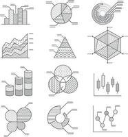 conjunto de ícones de diagramas de gráficos de negócios. ilustração vetorial. vetor