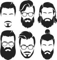 coleção de rostos de homens descolados. ilustração vetorial.