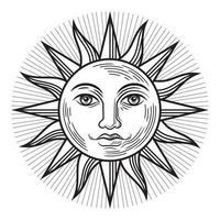 símbolo antigo do sol vintage. ilustrações vetoriais. vetor