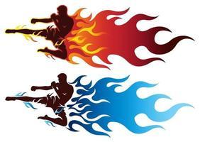 boxe esportivo homem chutando com fogo vetor