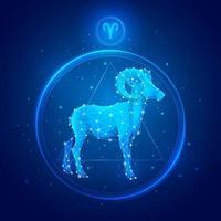 ícones do signo do Zodíaco Áries. vetor
