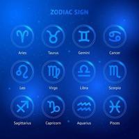 ícones do signo do Zodíaco. vetor