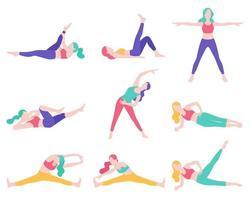 mulheres fitness exercício postura ilustrações vetoriais. vetor