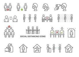 distanciamento social ícones conceito ilustrações vetoriais. vetor