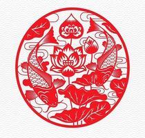 peixe e emblema do círculo vermelho com design floral vetor