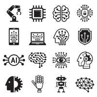 ícones de inteligência artificial de robô ai. ilustração vetorial.