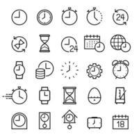 conjunto de ícones de linha de relógio. ilustrações vetoriais.