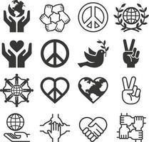 conjunto de ícones de símbolo de paz e amor. ilustrações do vetor. vetor