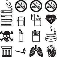 ícones de cigarro. ilustrações vetoriais. vetor