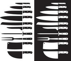 silhueta de faca de açougueiro afiada. ilustrações vetoriais. vetor