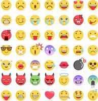 conjunto de ícones de símbolos de emoticons emoji. ilustrações vetoriais vetor