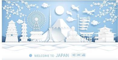 malha de corte de papel de viagem japão vetor