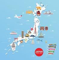 mapa de viagens de marcos famosos do japão vetor