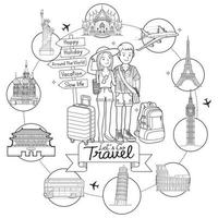 duas pessoas, homem e mulher, vão viajar ao redor do mundo famoso marco doodle arte mão desenhando ilustrações vetoriais de estilo de esboço. vetor
