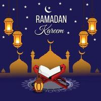 fundo islâmico ramadan kareem e cartão comemorativo vetor