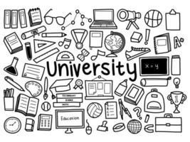 itens universitários de desenho à mão livre vetor