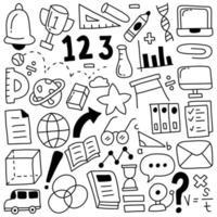 ícones de doodle de educação vetor
