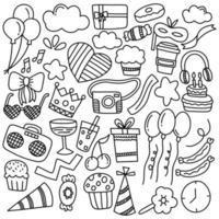 doodle de vetor de festa de aniversário