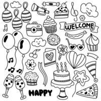 feliz aniversário enfeite doodle vetor