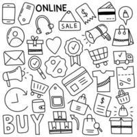 doodles de compras online vetor