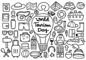 doodle do dia mundial do turismo vetor