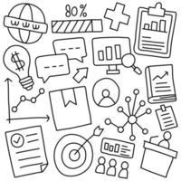 doodle de estratégia de marketing online vetor